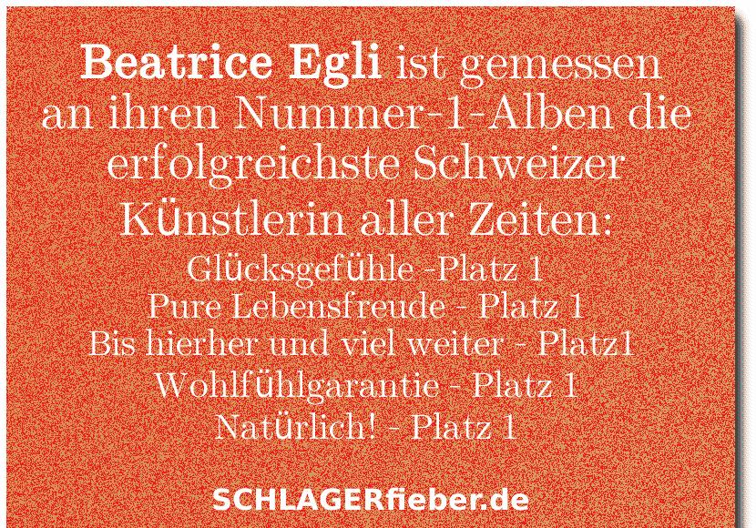 Beatrice Egli Rekord Schweiz spruch BIld