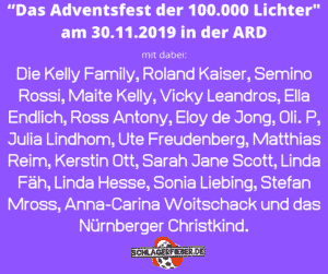 """""""Das Adventsfest der 100.000 Lichter_ am 30.11.2019 in der ARD alle Gäste"""